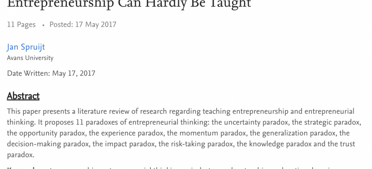 11 Paradoxes of Entrepreneurial Thinking: why entrepreneurship can hardly be taught